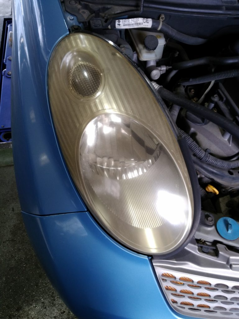 左ヘッドライトの光軸調整が効かない